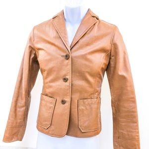 GAP tan leather blazer coat